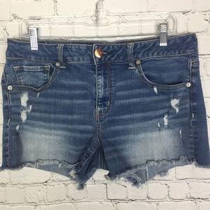 American Eagle Midi Distressed Jean Shorts Size 14